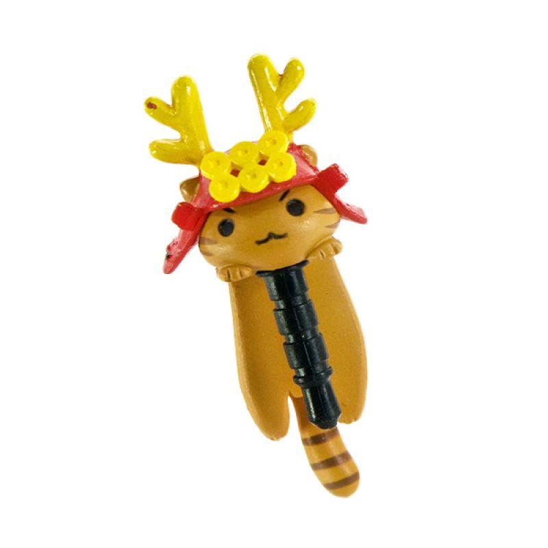 KadoUnik Niconico Nekomura Cat Samurai Edition Sanada Yukimura Yellow Red Penutup Lubang Earphone