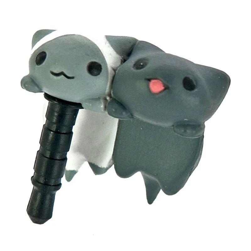 Kadounik Niconico Nekomura Cat Shiro and Kuro Grey White Penutup Lubang Earphone