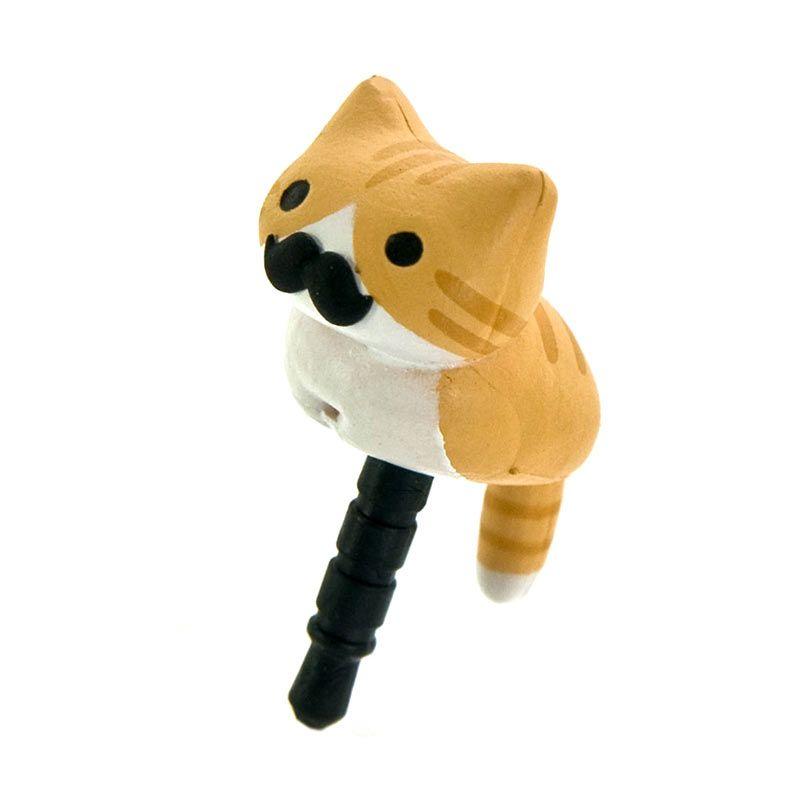 Kadounik Niconico Nekomura Cat Tora Yellow White Penutup Lubang Earphone