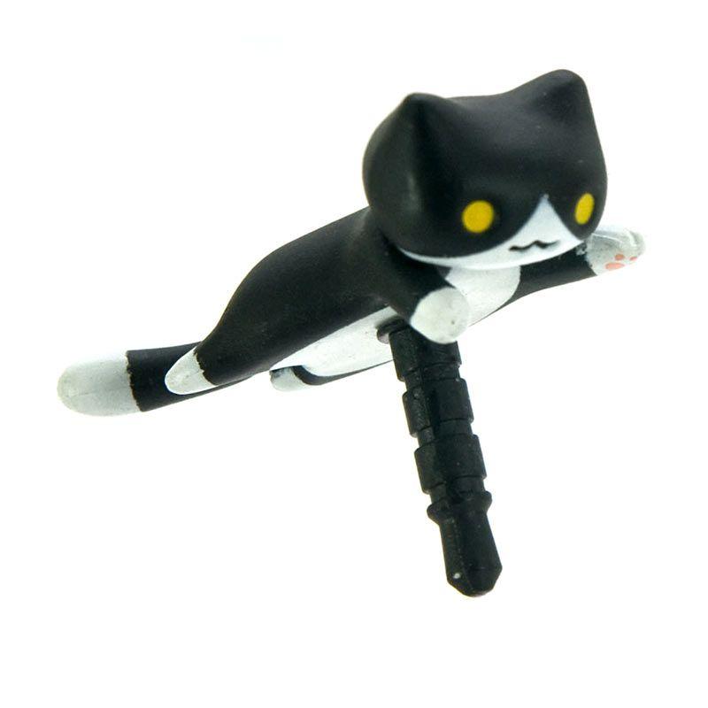 Kadounik Niconico Nekomura Cat Ver. 2 Kuro Penutup Lubang Earphone