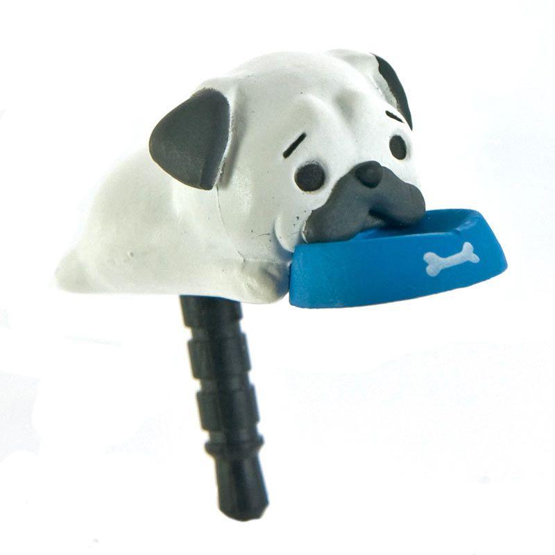 Kadounik Niconico Nekomura Puppy Pug Black White Penutup Lubang Earphone