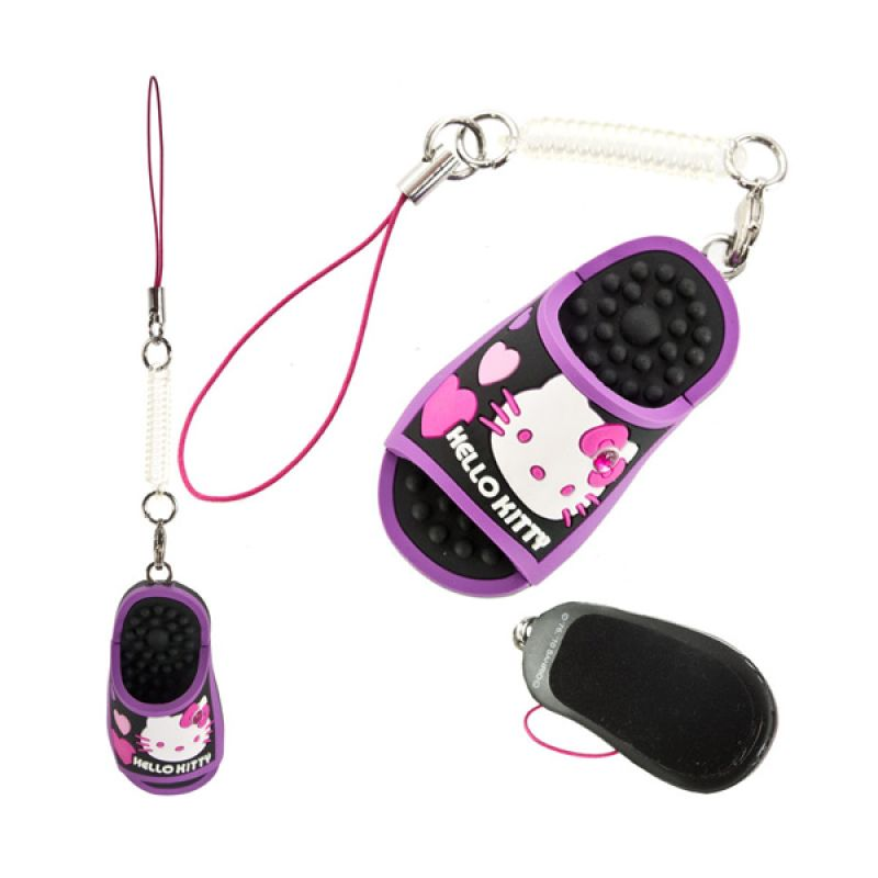 Kadounik Sanrio Hello Kitty Mini Sandal Puppet Purple Cleaner Charm Gantungan Handphone