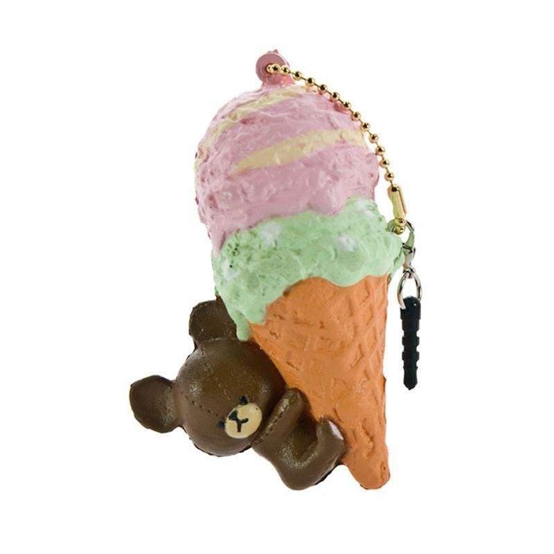Kadounik The Bear's Ice Cream Strawberry Marble Earphone Jack Plug with Touch Pen