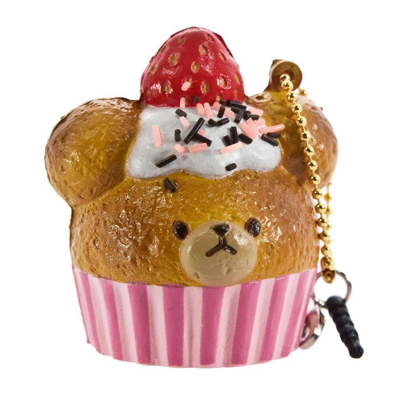 Kadounik The Bear's School Squishy Sweets Mascot Ball Chain Cupcake Strawberry Gantungan Kunci