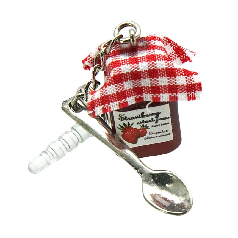Kadounik Yura Jam Strawberry Earphone Plug Aksesoris Handphone