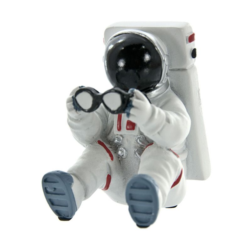 Motif Astronaut Figure Desk Accessories Glass Stand Mini