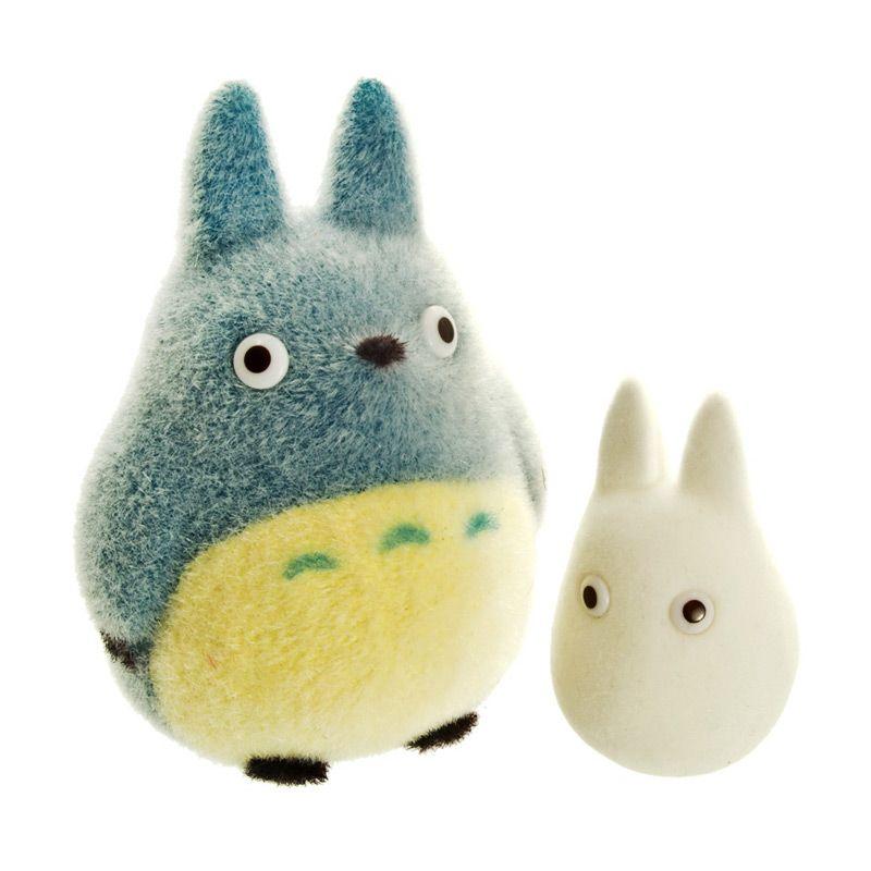 Studio Ghibli My Neighbor Totoro Flocking Doll Medium Totoro & Small Totoro Boneka Memorabilia