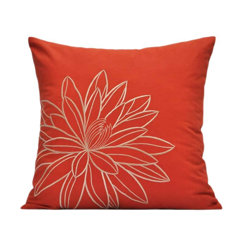 Kainkain Orange Lotus Pillow Cover