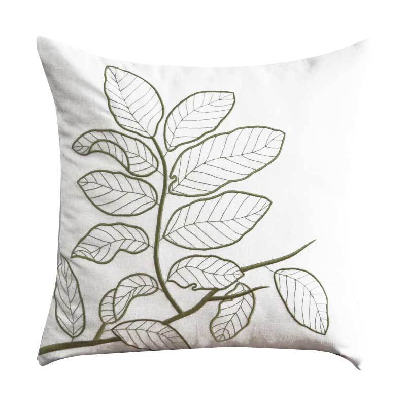 Kainkain Cream Leaves Branch Pillow Cover