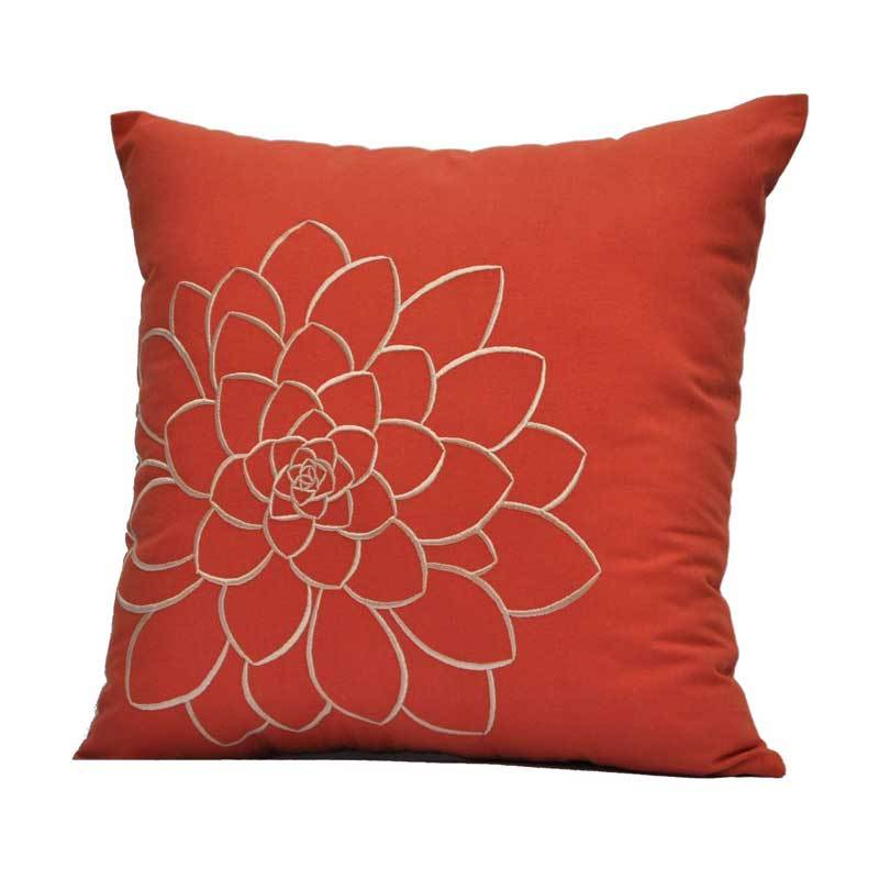 Kainkain Orange Succulent Pillow Cover
