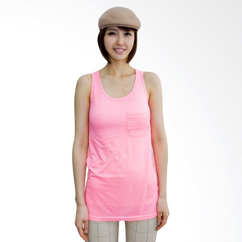 Kakuu Basic Back Stripe Sleeveless Pink Atasan Wanita