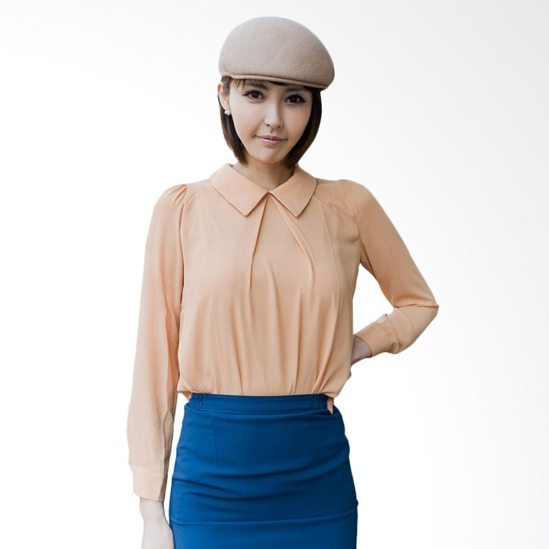 Kakuu Basic Blouse Alice Collar Peach Atasan Wanita