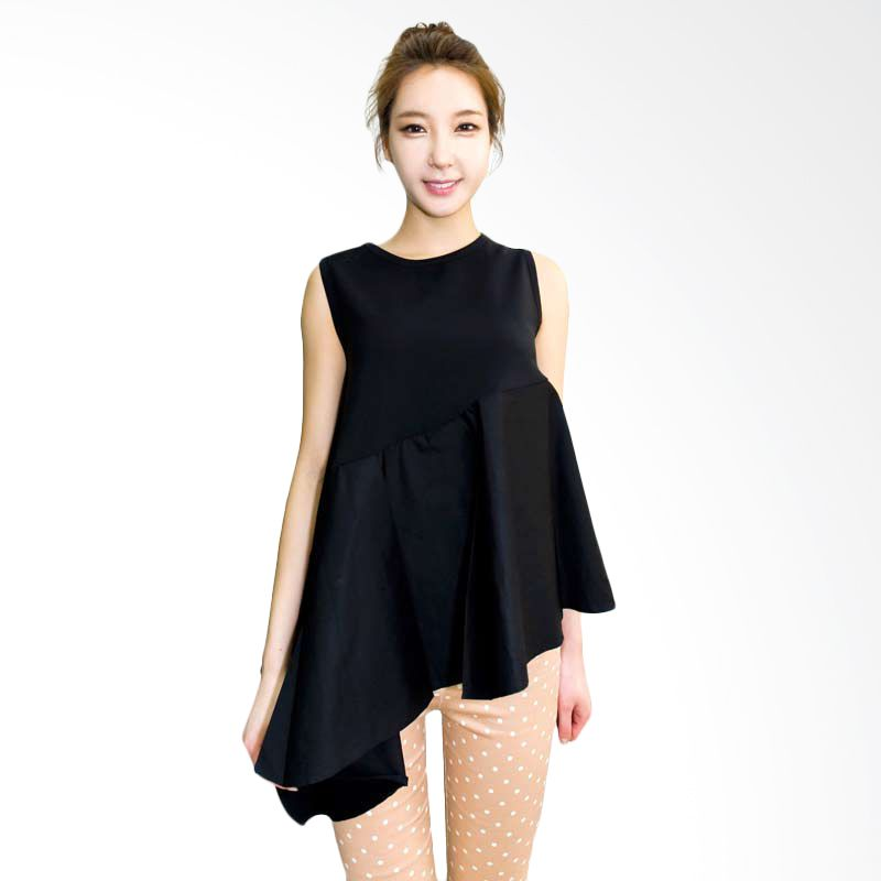 Kakuu Basic Blouse Asymmetry Boxy Black