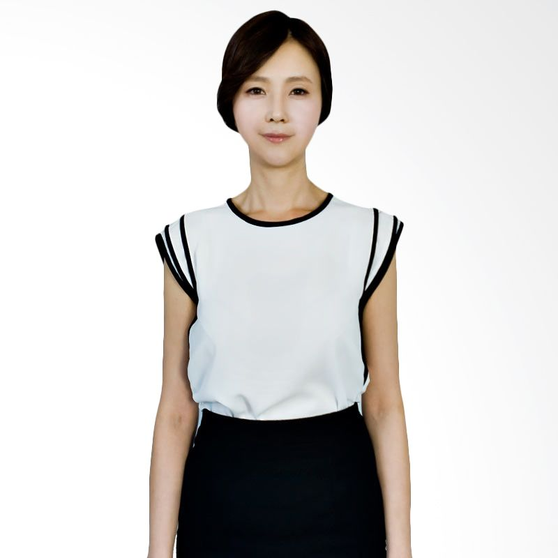 Kakuu Basic Blouse Black Ribbed Detailed Broken White
