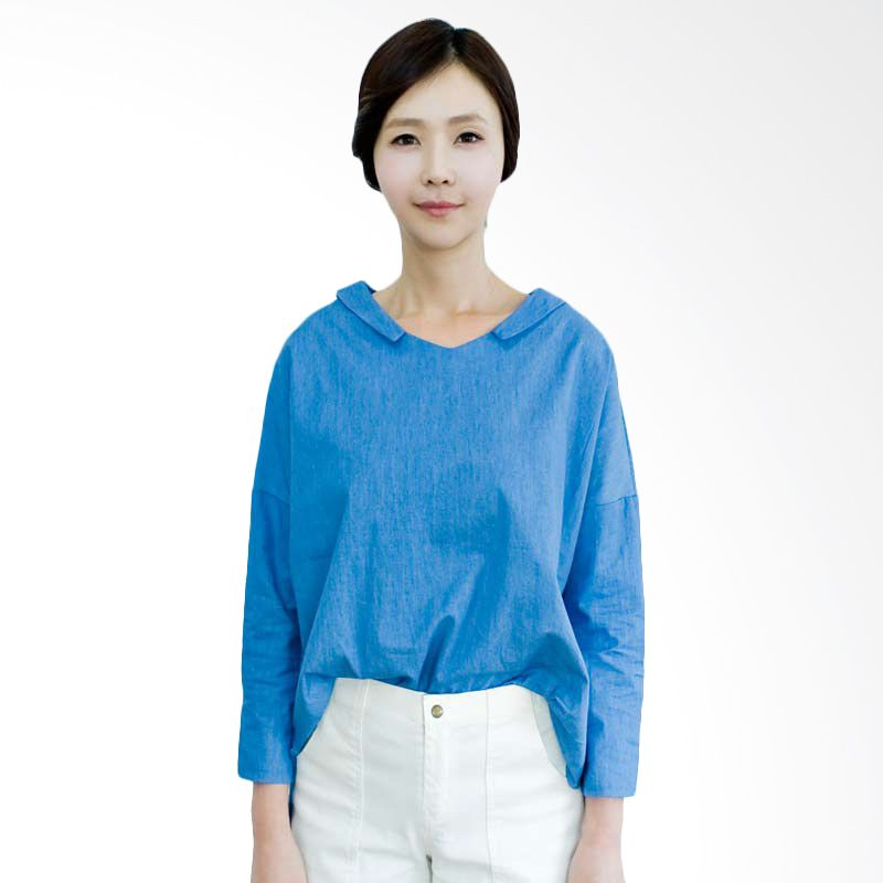 Kakuu Basic Blouse Boxy Collar Deep Blue