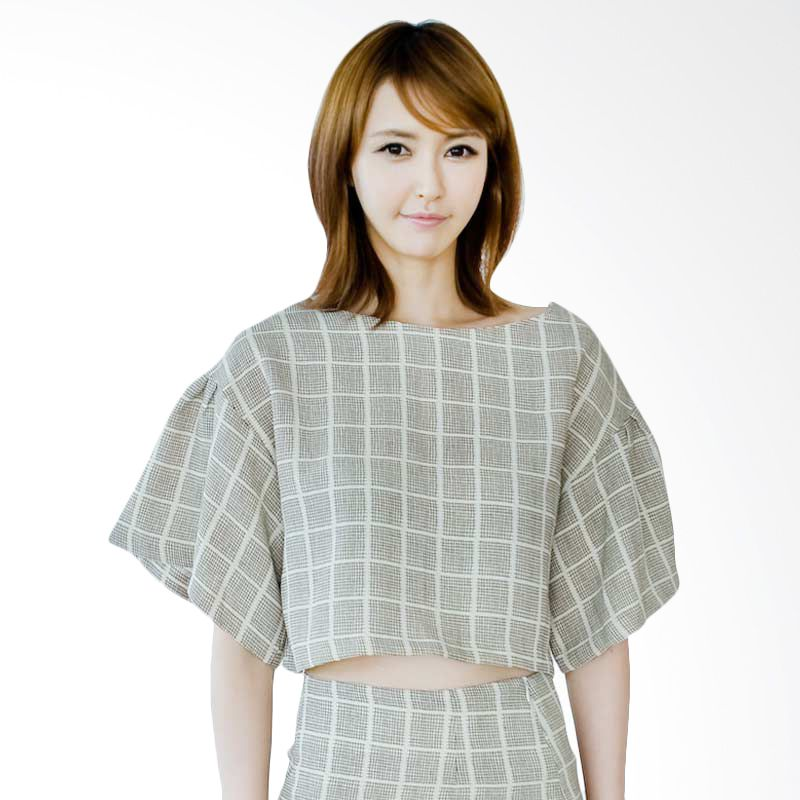 Kakuu Basic Blouse Checked Cropped Beige Tone