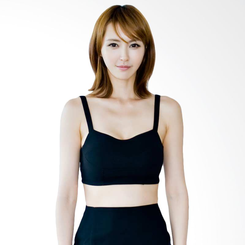 Kakuu Basic Blouse Cropped Tank Top Black