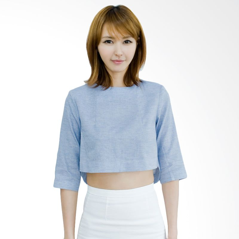 Kakuu Basic Blouse Cut Out Back Crop Skyblue
