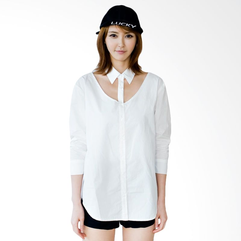 Kakuu Basic Blouse Cut Out Chest Boxy Broken White