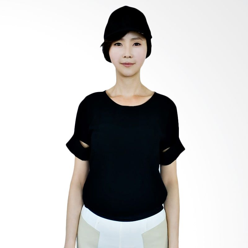 Kakuu Basic Blouse Cut Out Sleeve Black