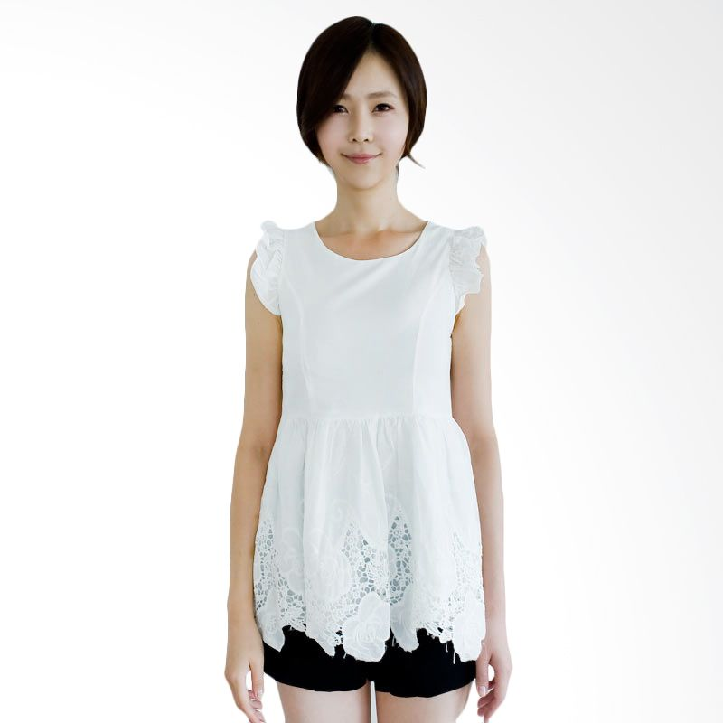 Kakuu Basic Blouse Embroidery Shirred Sleeve Broken White