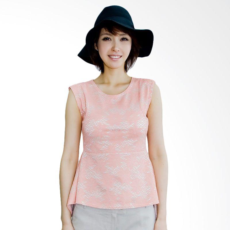Kakuu Basic Blouse Lace Motif Peplum Pink