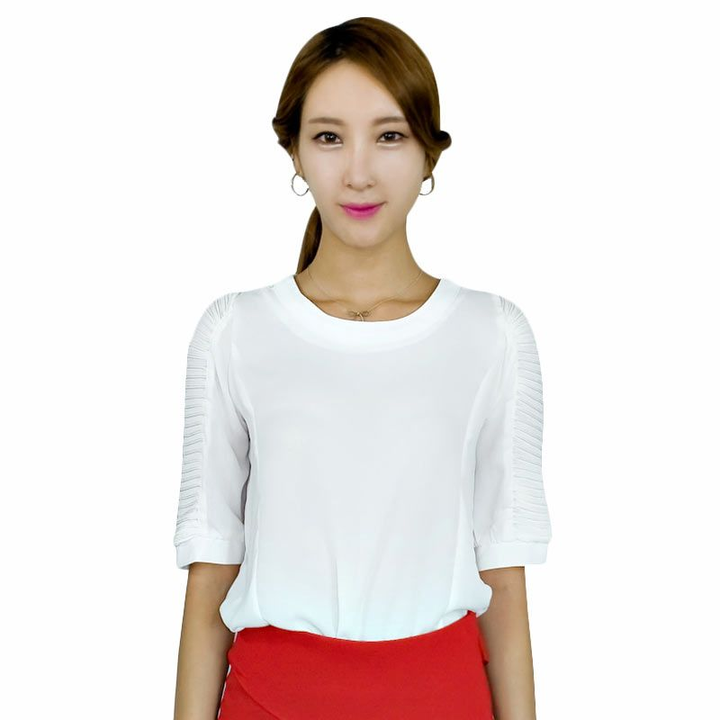 Kakuu Basic Blouse Pleat Sleeve Designed Cream