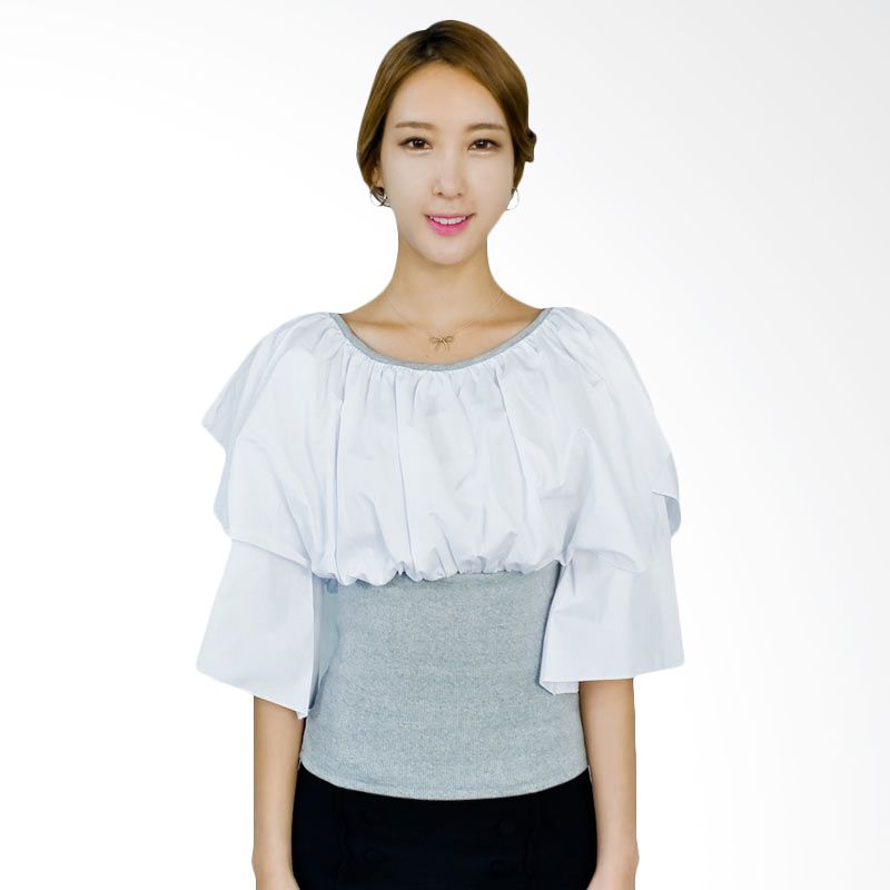 Kakuu Basic Blouse Puffed Chest Gray