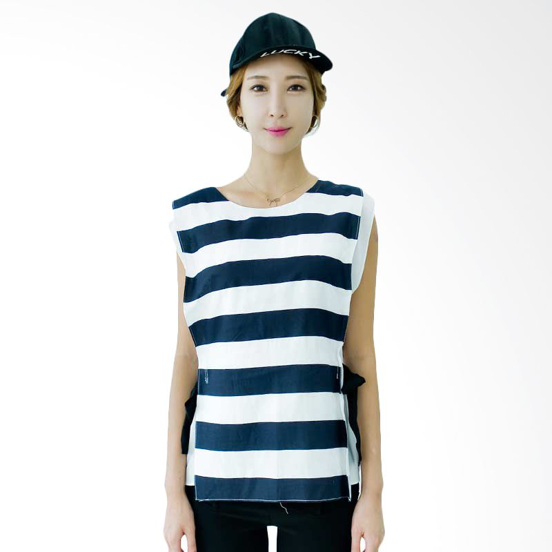 Kakuu Basic Blouse Sleeveless Stripes Navy Tone