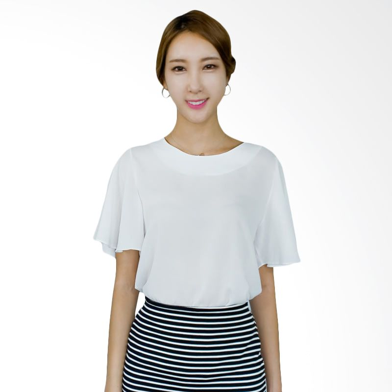 Kakuu Basic Blouse Trumpet Sleeve Broken White
