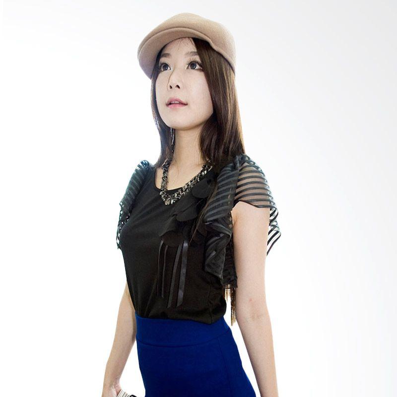 Kakuu Basic Brooch Stripes Sleeve Black Atasan Wanita