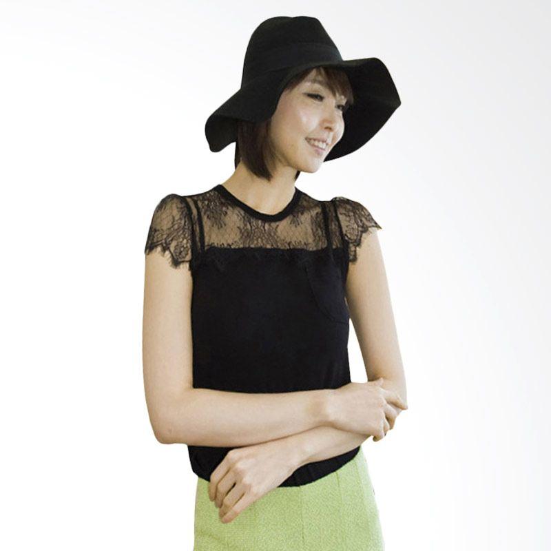 Kakuu Basic Chest Lace Design Slim Fit Black Atasan Wanita