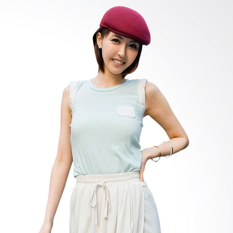 Kakuu Basic Coloration Shoulder Slim Fit Mint Cream Atasan Wanita