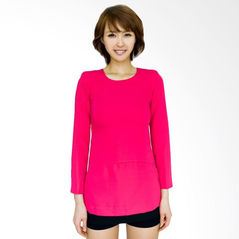 Kakuu Basic Dress Edge Color Slim Fit Deep Pink