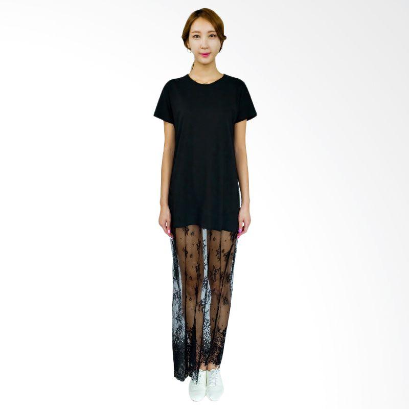 Kakuu Basic Dress Lace Bottom Maxi Black