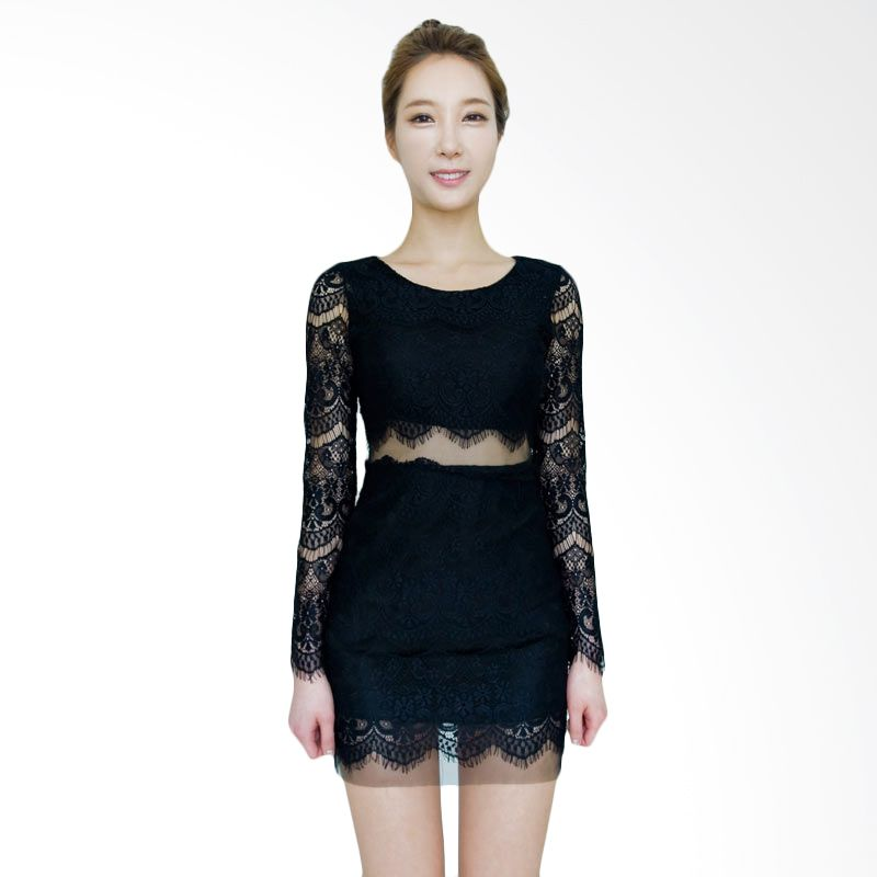 Kakuu Basic Dress Lace Slim Fit Black