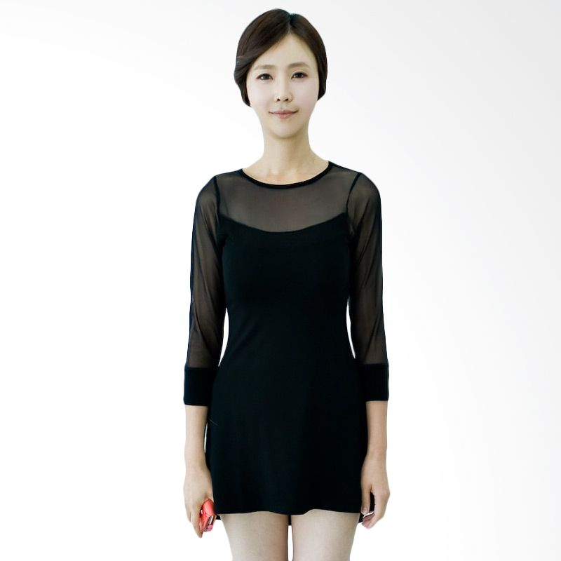 Kakuu Basic Dress Mesh Detail Flare Black
