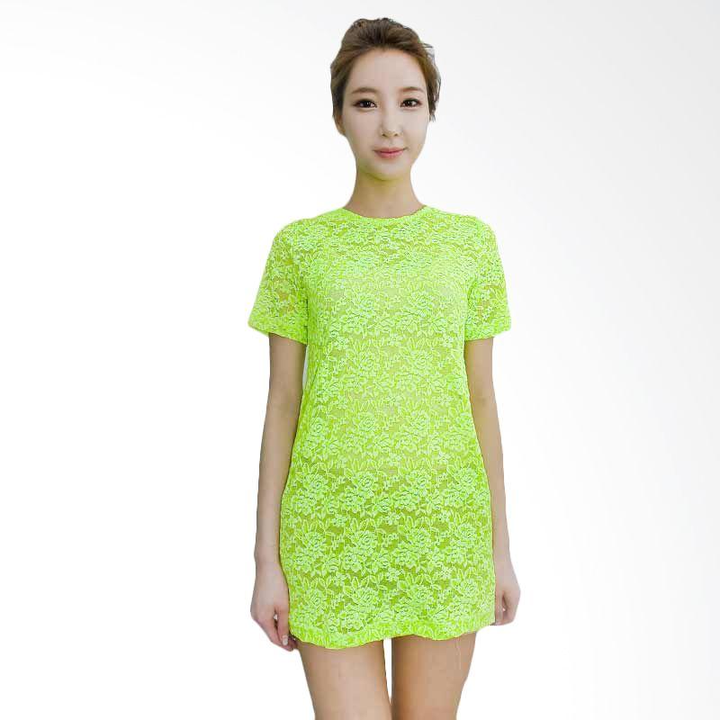 Kakuu Basic Dress Neon Lace Yellowish Green