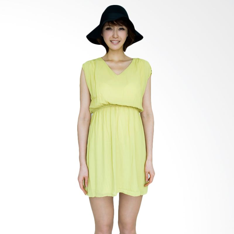 Kakuu Basic Dress Pleat Shoulder Flare Mini Lemon