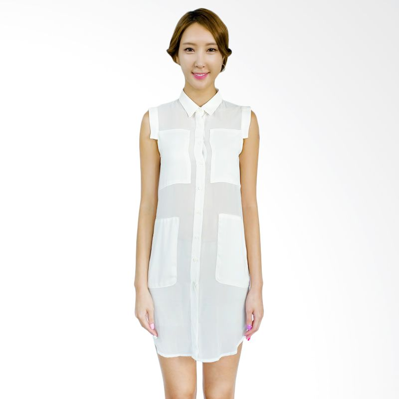 Kakuu Basic Dress Pocket Point Sheer Broken White