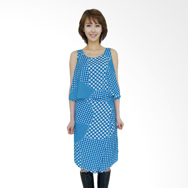 Kakuu Basic Dress Polkadot Uneven Blue Tone