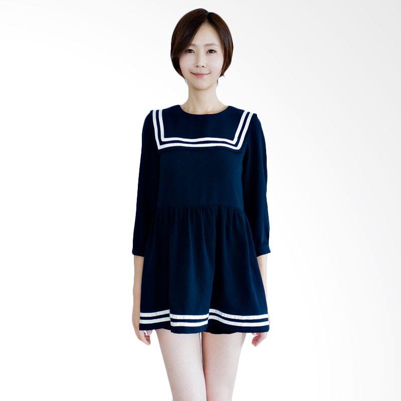 Kakuu Basic Dress Sailor Collar Navy