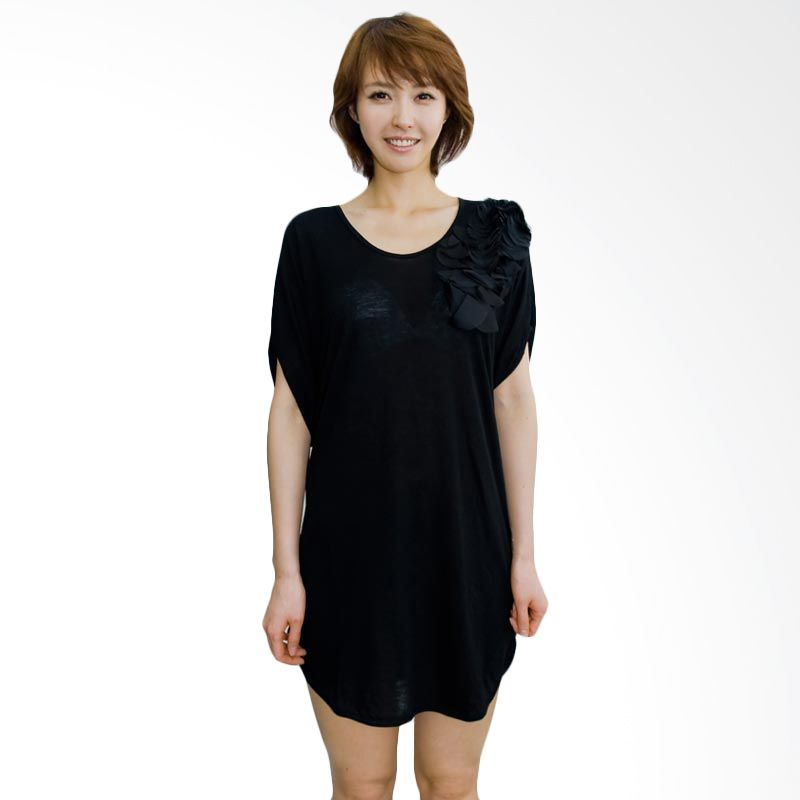 Kakuu Basic Dress Side Flower Point Black