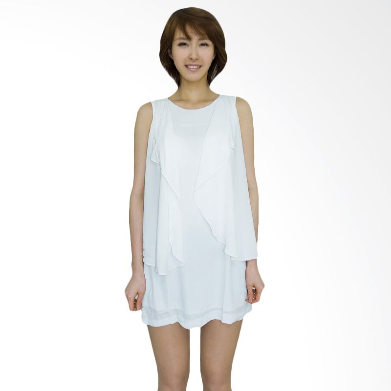 Kakuu Basic Dress Side Tassel Sleeveless White