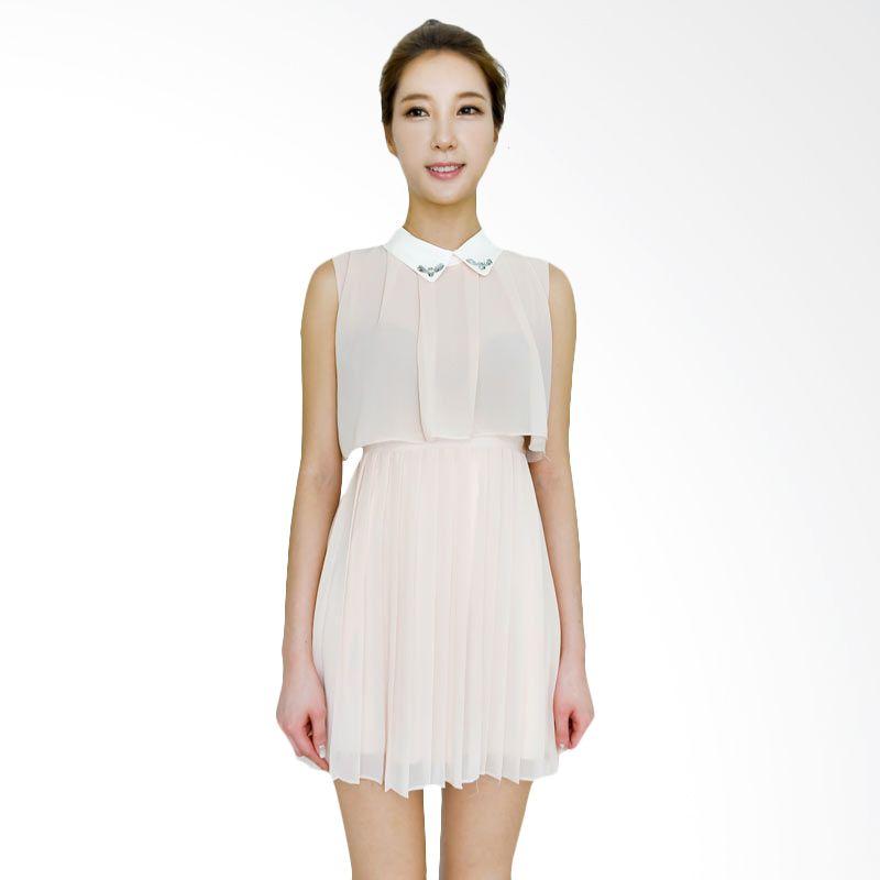 Kakuu Basic Dress Split Waist Pleat Mini Pink