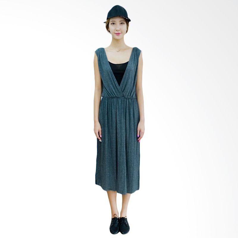 Kakuu Basic Dress V Neck Pleat Sleeveless Gray