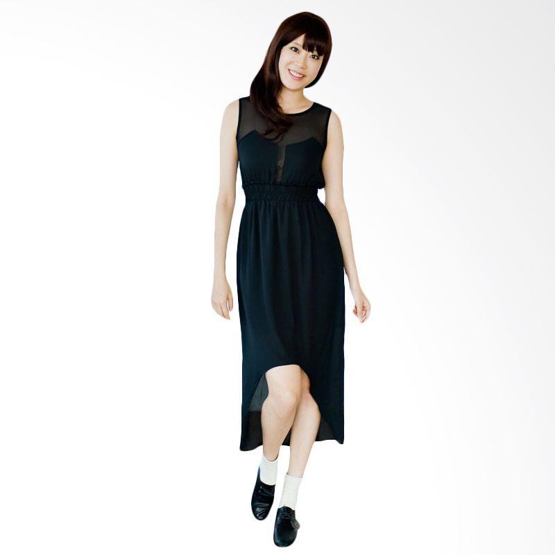 Kakuu Basic Dress Waist Band High Low Sheer Black