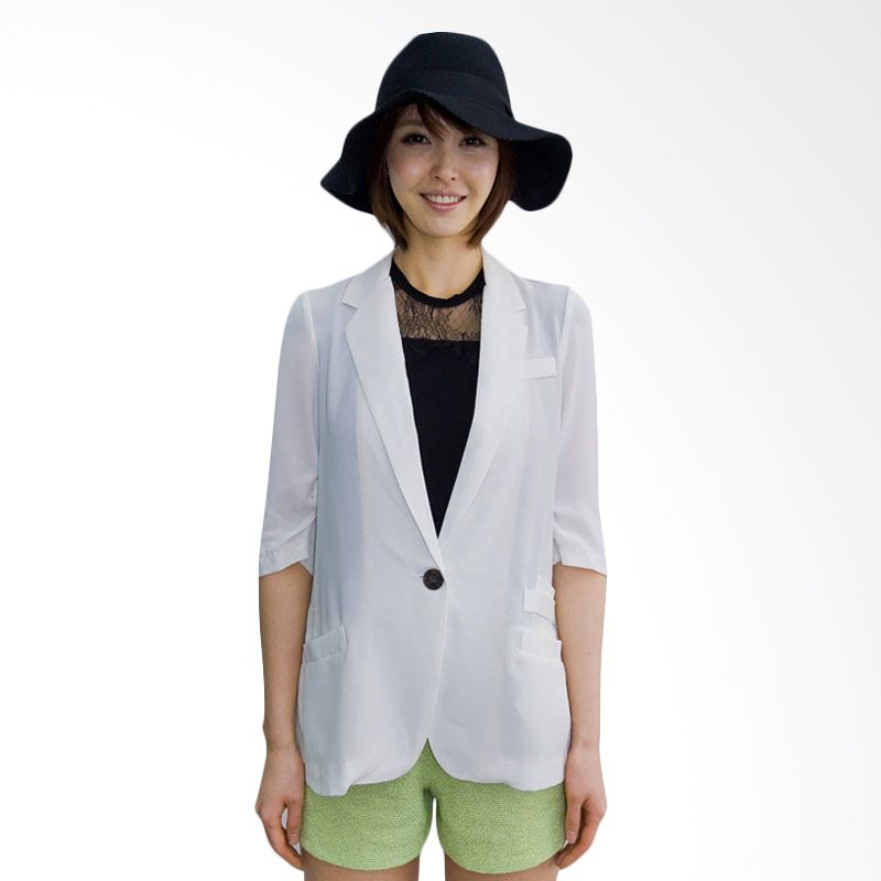 Kakuu Basic Jacket 3/4 Sleeve Summer White