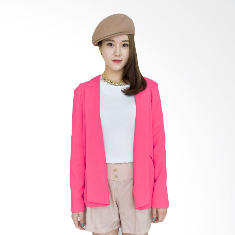 Kakuu Basic Jacket Collarless Slim Fit Deep Pink