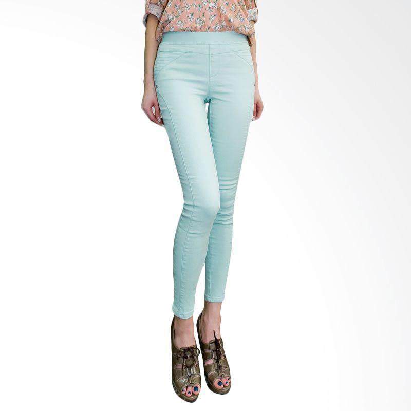 Kakuu Basic Celana Jeans Banding Waist Skinny Mint